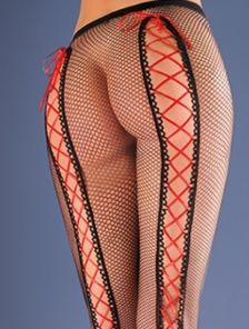 Сексуальные черные колготки в сетку со шнуровкой