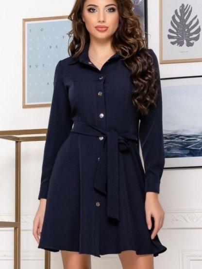 Женское короткое платье с поясом в синем цвете, фото 1