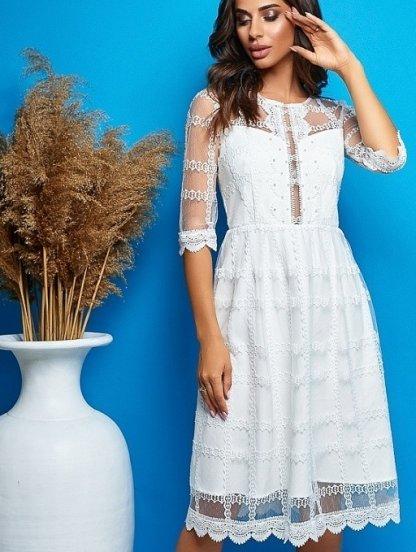 Белое короткое платье с кружевом на рукав3/4 на роспись, фото 1