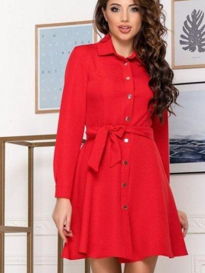Женское короткое платье с поясом в красном цвете, фото 1