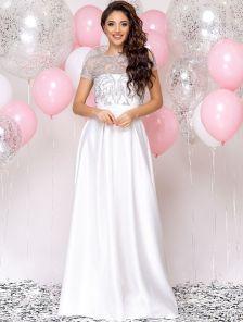 Белое свадебное атласное длинное платье со съемным топом