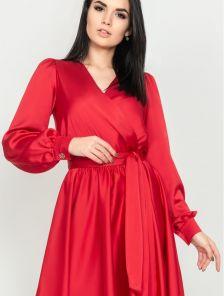Красивое красное платье на запах в ткани с натуральным шелком