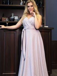 Нарядное длинное розовое блестящее платье с декольте