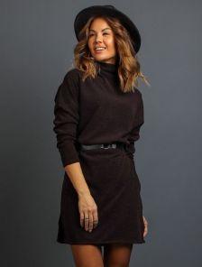 Коричневое теплое ангоровое короткое платье под пояс