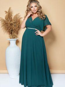 Вечернее длинное шифоновое платье большого размера зеленого цвета