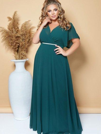 Вечернее длинное шифоновое платье большого размера зеленого цвета, фото 1