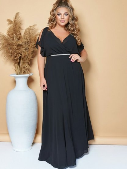 Вечернее длинное шифоновое платье большого размера черного цвета, фото 1