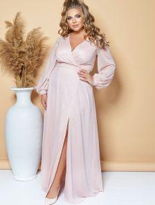 Вечернее светлое платье в пол на длинный рукав большого размера