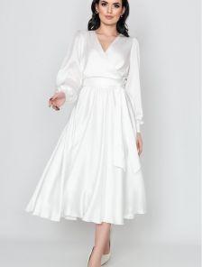 Нарядное белое шелковое платье до косточки на длинный рукав