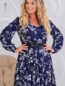 Длинное нарядное синее платье с цветами большого размера