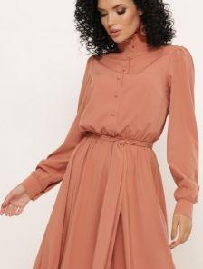 Длинное яркое платье рубашка на пуговицах на длинный рукав
