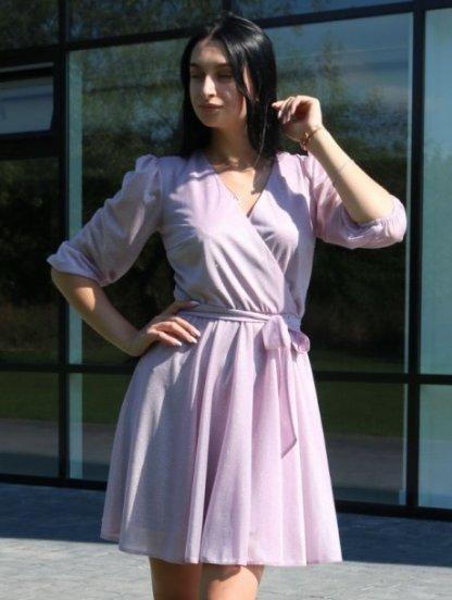 Нарядное короткое шифоновое светлое платье на рукав 3/4, фото 1