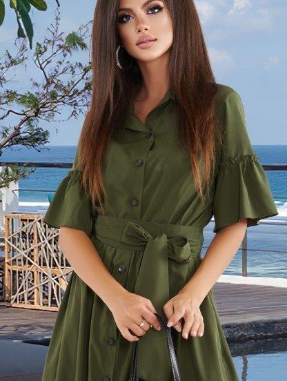 Темно-зеленое длинное летнее платье с рюшами, фото 1