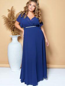 Нарядное длинное шифоновое платье синего цвета