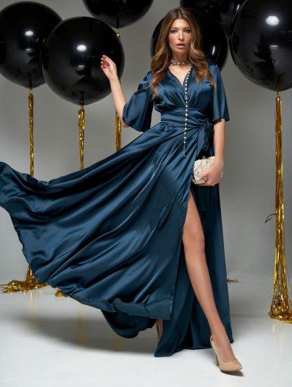 Длинное вечернее шелковое изумрудное платье с коротким рукавом, фото 1