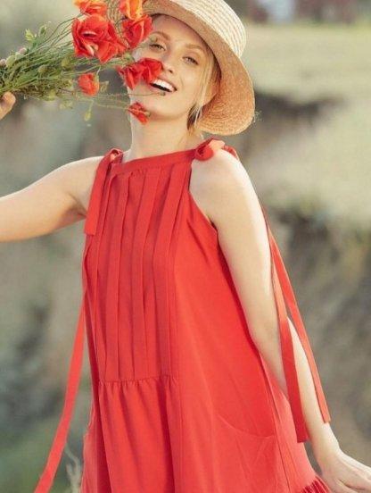 Красное нарядное платье А-силуэта в пол с карманами, фото 1