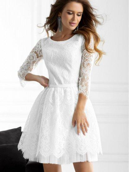 Белое нарядное гипюровое платье с рукавом 3/4, фото 1