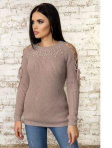 Оригинальный теплый шерстяной пудровый свитер