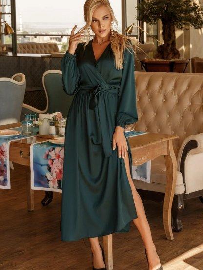 Шелковое зеленое нарядное платье макси с разрезом на длинный рукав, фото 1
