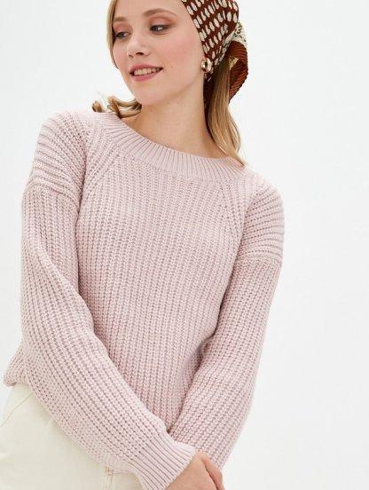 Розовый вязаный теплый объемный свитер на зиму, фото 1