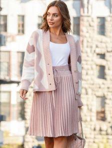 Теплый розовый вязаный костюм с юбкой плиссе до колен