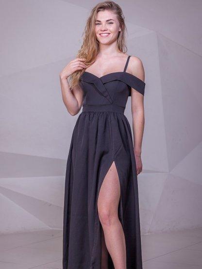 Нарядное черное платье с запахом и окрытыми плечами, фото 1
