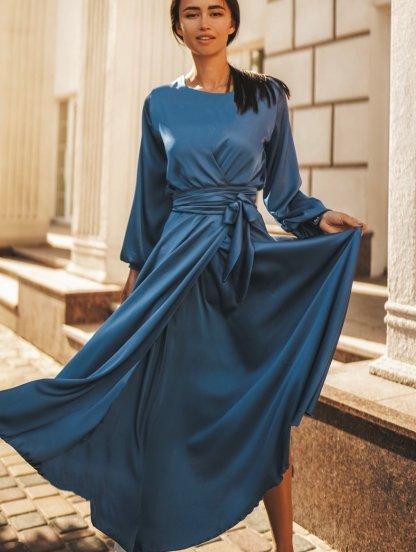 Шелковое платье миди с поясом и длинным рукавом в синем цвете, фото 1