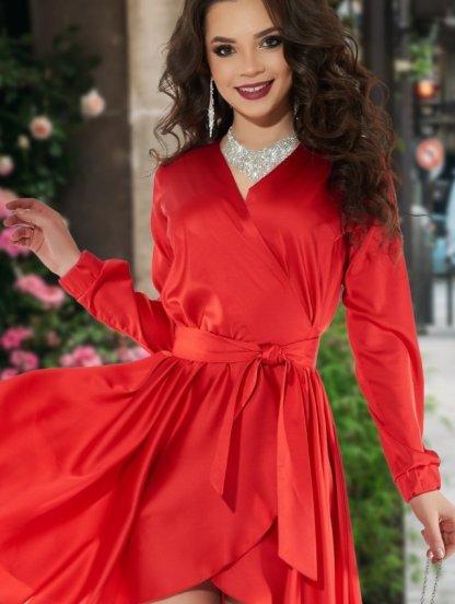 Нарядное шелковое красное платье на запах с рукавом, фото 1