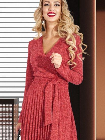 Красное теплое короткое платье из ангоры на запах с юбкой плиссе, фото 1