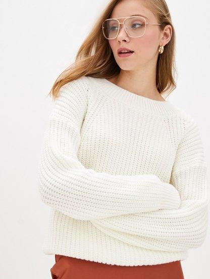 Белый вязаный теплый объемный свитер на зиму, фото 1