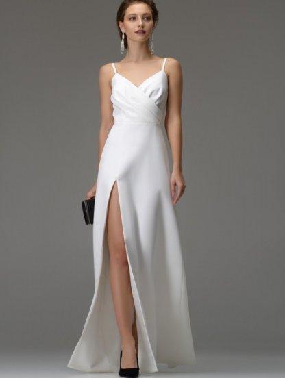 Белое длинное платье на бретелях и ассиметричным разрезом на бедре, фото 1