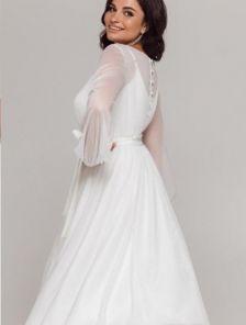 Белое нарядное мерцающее платье миди со съемным верхом на роспись и свадьбу