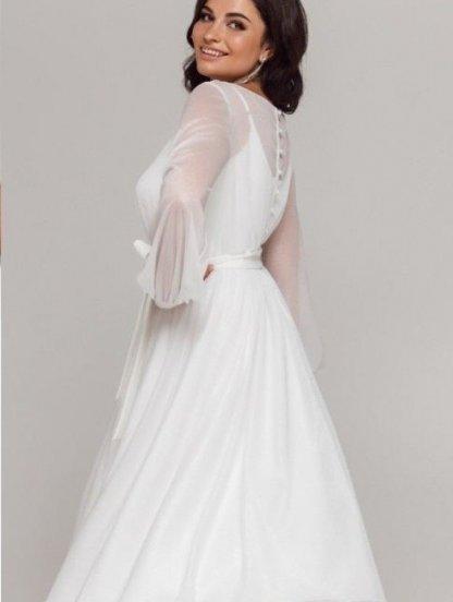 Белое нарядное мерцающее платье миди со съемным верхом на роспись и свадьбу, фото 1