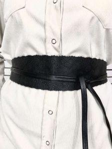 Эффектный черный широкий пояс завязка на талию с узором