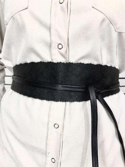 Эффектный черный широкий пояс завязка на талию с узором, фото 1