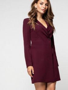 Стильное короткое платье пиджак на длинный рукав цвета марсала