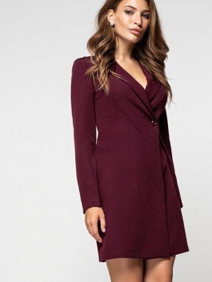 Стильное короткое платье пиджак на длинный рукав цвета марсала, фото 1