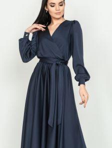 Длинное нарядное вечернее синее платье на запах