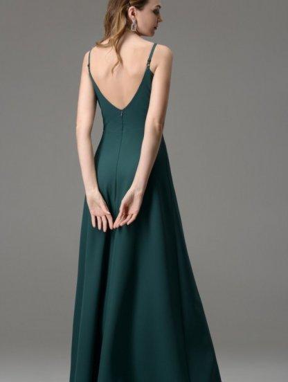 Зеленое длинное платье на бретелях с разрезом, фото 1