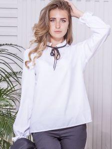 Нарядная блуза белого цвета на длинный рукав в офис