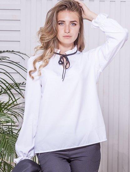 Нарядная блуза белого цвета на длинный рукав в офис, фото 1