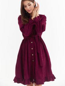 Теплое повседневное бордовое вельветовое платье с карманами