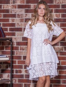 Белое хлопковое платье большого размера с коротким руквчиком