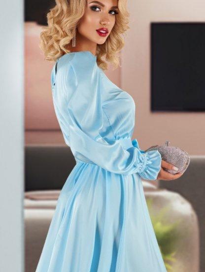 Короткое шелковое голубое нарядное платье под пояс, фото 1