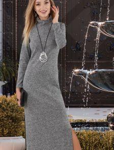Длинное теплое серое платье с разрезами и воротником стойкой