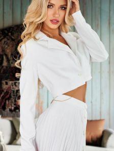 Стильный белый женский укороченный пиджак-жакет