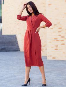 Терракотовое платье с рукавом 3\4