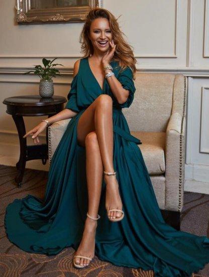 Длинное зеленое шелковое нарядное платье, фото 1