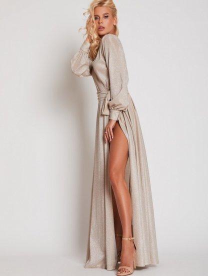 Вечернее золотое блестящее платье в пол на длинный рукав, фото 1
