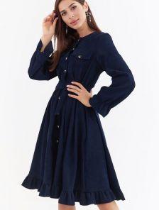 Теплое синее вельветовое платье с карманами